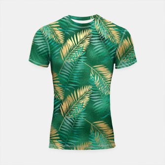 Miniaturka Natural Emerald Green Palm Leaf Bright Golden Jungle Shortsleeve rashguard, Live Heroes
