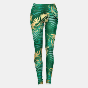 Miniaturka Natural Emerald Green Palm Leaf Bright Golden Jungle Leggings, Live Heroes