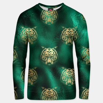 Thumbnail image of Golden Tiger Face Emerald Green Wild Animal Feline Unisex sweater, Live Heroes