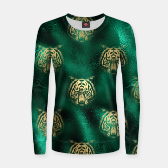 Thumbnail image of Golden Tiger Face Emerald Green Wild Animal Feline Women sweater, Live Heroes