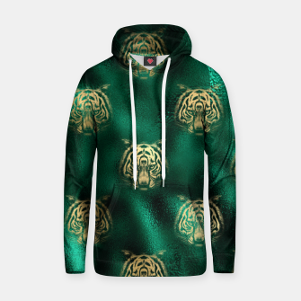Thumbnail image of Golden Tiger Face Emerald Green Wild Animal Feline Hoodie, Live Heroes