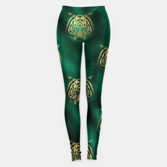 Thumbnail image of Golden Tiger Face Emerald Green Wild Animal Feline Leggings, Live Heroes