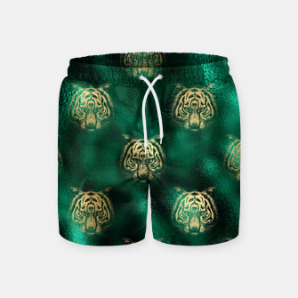 Thumbnail image of Golden Tiger Face Emerald Green Wild Animal Feline Swim Shorts, Live Heroes
