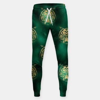 Thumbnail image of Golden Tiger Face Emerald Green Wild Animal Feline Sweatpants, Live Heroes