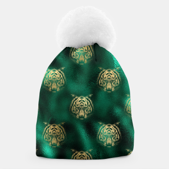 Thumbnail image of Golden Tiger Face Emerald Green Wild Animal Feline Beanie, Live Heroes