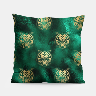 Thumbnail image of Golden Tiger Face Emerald Green Wild Animal Feline Pillow, Live Heroes