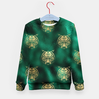 Thumbnail image of Golden Tiger Face Emerald Green Wild Animal Feline Kid's sweater, Live Heroes