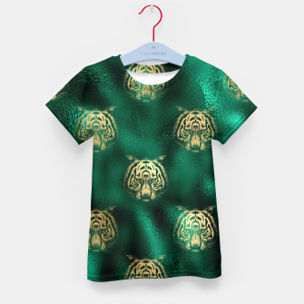 Thumbnail image of Golden Tiger Face Emerald Green Wild Animal Feline Kid's t-shirt, Live Heroes