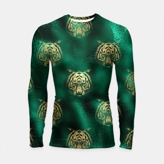 Thumbnail image of Golden Tiger Face Emerald Green Wild Animal Feline Longsleeve rashguard , Live Heroes
