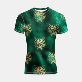 Thumbnail image of Golden Tiger Face Emerald Green Wild Animal Feline Shortsleeve rashguard, Live Heroes