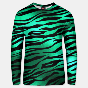 Miniature de image de Emerald Green Black Tiger Stripes Feline Lover Wild Animal Unisex sweater, Live Heroes