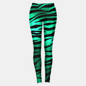 Miniature de image de Emerald Green Black Tiger Stripes Feline Lover Wild Animal Leggings, Live Heroes
