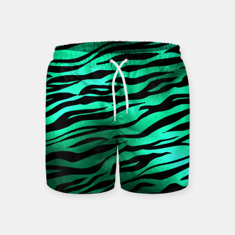 Miniature de image de Emerald Green Black Tiger Stripes Feline Lover Wild Animal Swim Shorts, Live Heroes