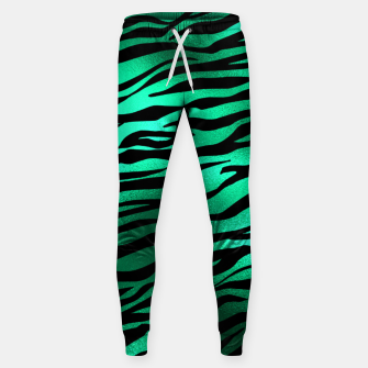 Miniature de image de Emerald Green Black Tiger Stripes Feline Lover Wild Animal Sweatpants, Live Heroes
