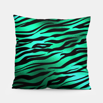 Miniature de image de Emerald Green Black Tiger Stripes Feline Lover Wild Animal Pillow, Live Heroes