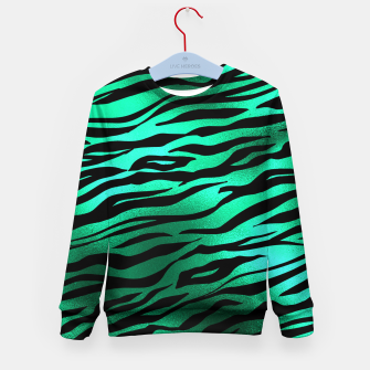 Miniature de image de Emerald Green Black Tiger Stripes Feline Lover Wild Animal Kid's sweater, Live Heroes