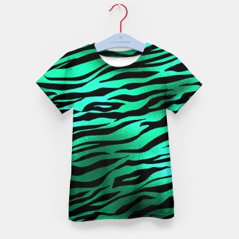 Miniature de image de Emerald Green Black Tiger Stripes Feline Lover Wild Animal Kid's t-shirt, Live Heroes