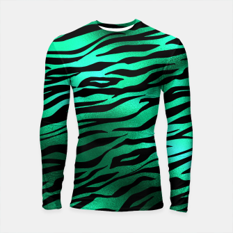 Miniature de image de Emerald Green Black Tiger Stripes Feline Lover Wild Animal Longsleeve rashguard , Live Heroes