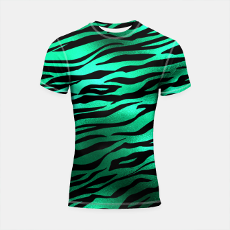 Miniature de image de Emerald Green Black Tiger Stripes Feline Lover Wild Animal Shortsleeve rashguard, Live Heroes