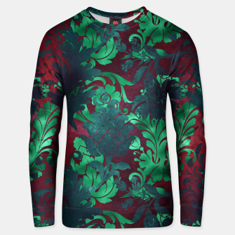 Thumbnail image of Vintage Floral Garden Bright Burgundy Emerald Green Unisex sweater, Live Heroes