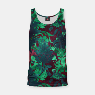 Thumbnail image of Vintage Floral Garden Bright Burgundy Emerald Green Tank Top, Live Heroes