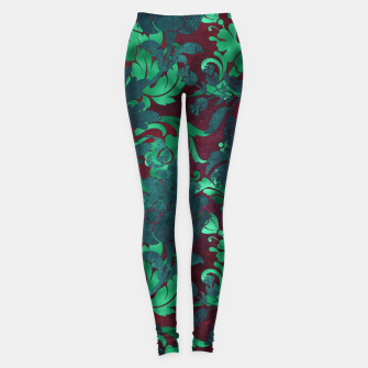 Thumbnail image of Vintage Floral Garden Bright Burgundy Emerald Green Leggings, Live Heroes