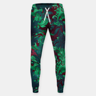 Thumbnail image of Vintage Floral Garden Bright Burgundy Emerald Green Sweatpants, Live Heroes