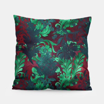 Thumbnail image of Vintage Floral Garden Bright Burgundy Emerald Green Pillow, Live Heroes