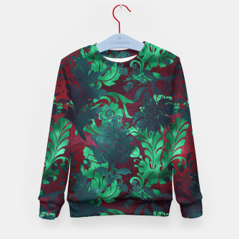 Thumbnail image of Vintage Floral Garden Bright Burgundy Emerald Green Kid's sweater, Live Heroes