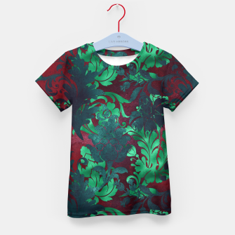 Thumbnail image of Vintage Floral Garden Bright Burgundy Emerald Green Kid's t-shirt, Live Heroes
