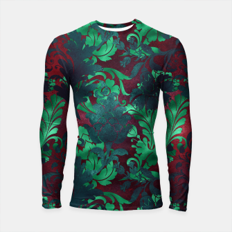 Thumbnail image of Vintage Floral Garden Bright Burgundy Emerald Green Longsleeve rashguard , Live Heroes
