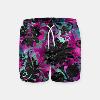 Miniaturka Antique Floral Jungle Black Flower Zebra Stripes Grunge Swim Shorts, Live Heroes