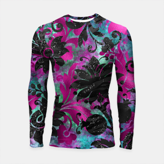 Miniaturka Antique Floral Jungle Black Flower Zebra Stripes Grunge Longsleeve rashguard , Live Heroes