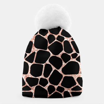 Thumbnail image of Girly Rose Golden Glitter Black Spots Safari Cheetah Beanie, Live Heroes