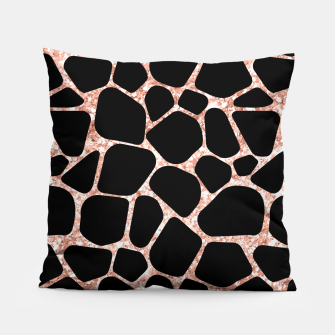 Thumbnail image of Girly Rose Golden Glitter Black Spots Safari Cheetah Pillow, Live Heroes