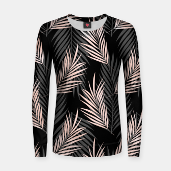 Thumbnail image of Elegant Rose Golden Palm Leaf Natural Tropical Caribbean Women sweater, Live Heroes