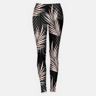 Miniatur Elegant Rose Golden Palm Leaf Natural Tropical Caribbean Leggings, Live Heroes