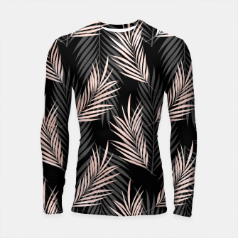 Thumbnail image of Elegant Rose Golden Palm Leaf Natural Tropical Caribbean Longsleeve rashguard , Live Heroes