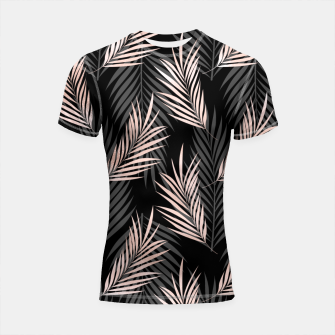 Thumbnail image of Elegant Rose Golden Palm Leaf Natural Tropical Caribbean Shortsleeve rashguard, Live Heroes