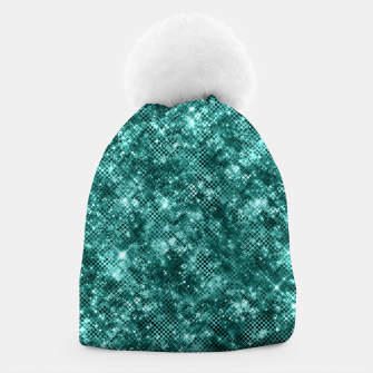 Miniatur Glamorous Turquoise Sparkle Dots Girly Elegant Chic Beanie, Live Heroes