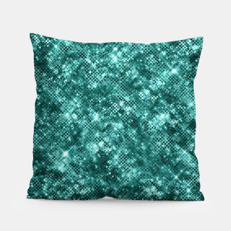 Miniatur Glamorous Turquoise Sparkle Dots Girly Elegant Chic Pillow, Live Heroes