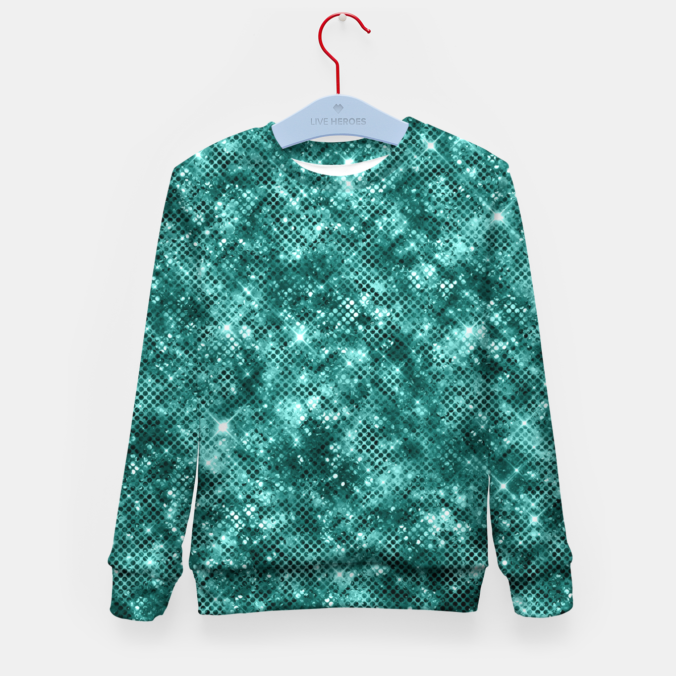 Zdjęcie Glamorous Turquoise Sparkle Dots Girly Elegant Chic Kid's sweater - Live Heroes