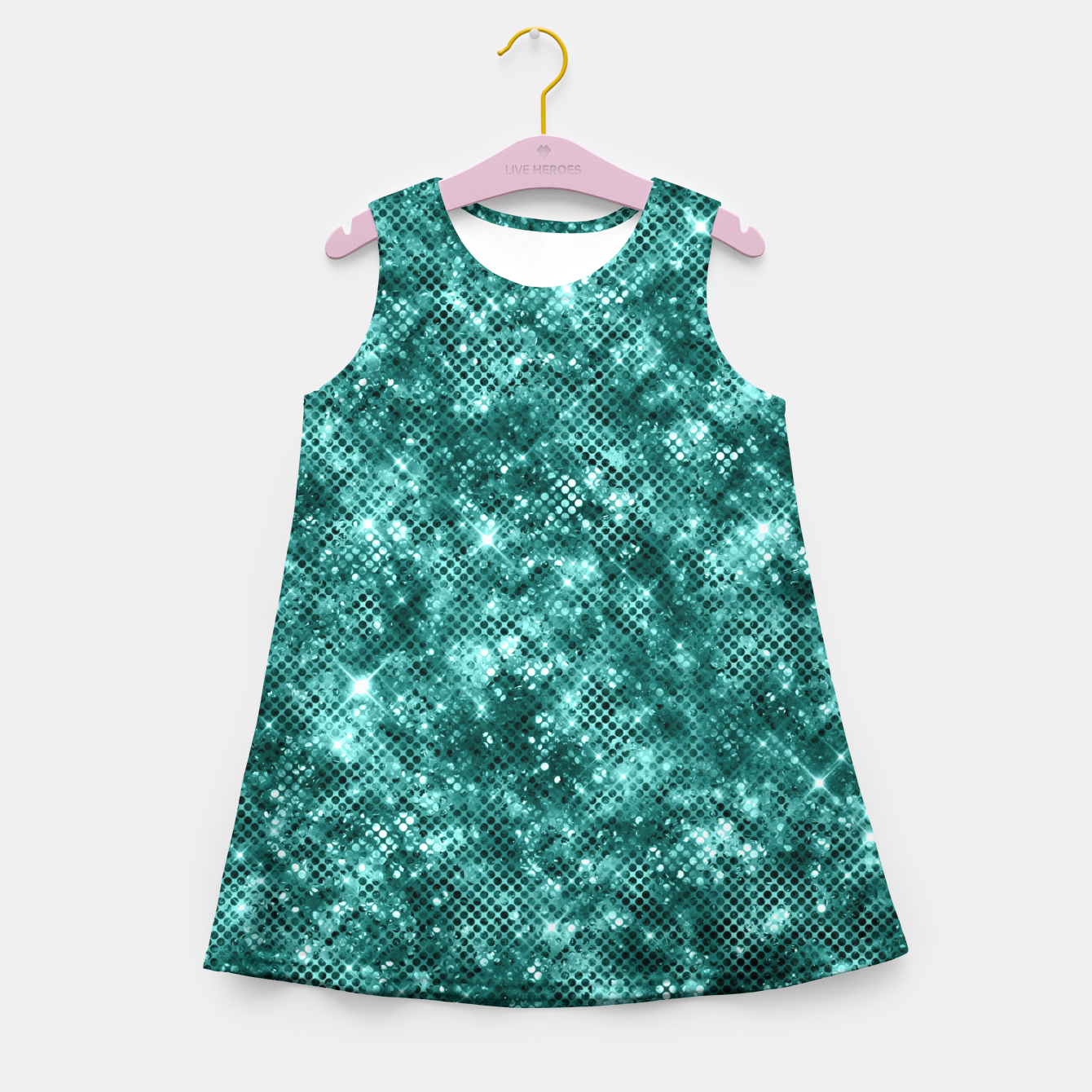 Zdjęcie Glamorous Turquoise Sparkle Dots Girly Elegant Chic Girl's summer dress - Live Heroes