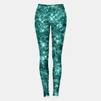 Miniatur Glamorous Turquoise Sparkle Dots Girly Elegant Chic Leggings, Live Heroes