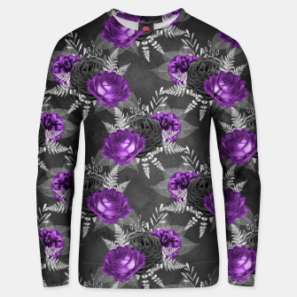 Thumbnail image of Black Purple Roses Elegant Silver Leaves Dark Garden Unisex sweater, Live Heroes