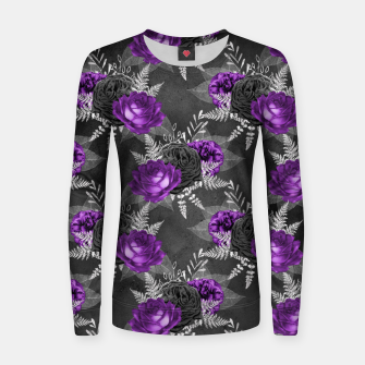 Thumbnail image of Black Purple Roses Elegant Silver Leaves Dark Garden Women sweater, Live Heroes