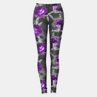 Thumbnail image of Black Purple Roses Elegant Silver Leaves Dark Garden Leggings, Live Heroes
