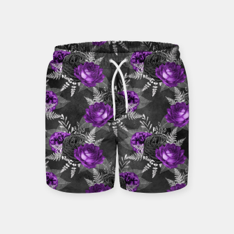 Miniatur Black Purple Roses Elegant Silver Leaves Dark Garden Swim Shorts, Live Heroes