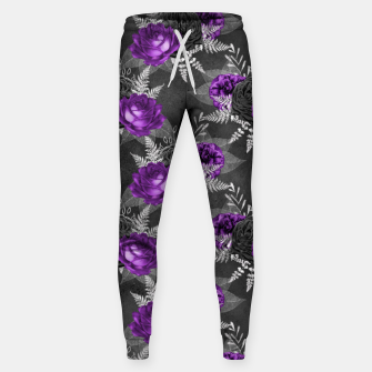 Thumbnail image of Black Purple Roses Elegant Silver Leaves Dark Garden Sweatpants, Live Heroes