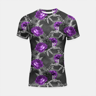 Thumbnail image of Black Purple Roses Elegant Silver Leaves Dark Garden Shortsleeve rashguard, Live Heroes